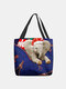 Women Felt Elephant Wearing Christmas Hat Print Handbag Tote - Blue