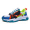 Men Stylish Color Blocking Lace-up Round Toe Chunky Sneaker Shoes - Blue