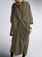 Casual Solid Color Pockets Long Sleeve Pleated Dress - Army