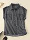Solid Lapel Sleeveless Pocket Button Women Denim Blouse - Gray