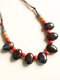 Vintage Ethnic Drop Round Shaped Beaded Braided Ceramics Velvet Rope Long Sweater Necklace - #03