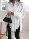 Solid Color Long Sleeve Side Slit Lace-up Irregular Shirt For Women - White