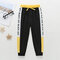 Kid's Letter Print Patchwork Casual Pants For 1-7Y - Black