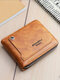 Men Multifunction Large Capacity PU Leather Money Clips Card-slots Wallet - Brown