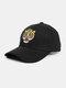 पुरुष कढ़ाई टाइगर पैटर्न बेसबॉल कैप आउटडोर सनशेड समायोज्य टोपी - काली