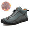 Men Hand Stiching Zipper Microfiber Leather Comfortable Outdoor Casual Shoes - Dark Green Cotton Lining