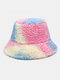 Women Tie-dye Mix Color Lamb Fur Warm Casual Cute Bucket Hat - Blue