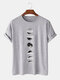 Mens 100% Cotton Moon Eclipse Printed Short Sleeve Graphic T-Shirt - Gray