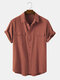Men 100% Cotton Solid Color Double Pocket Casual Shirt - Red