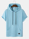 Mens Solid Pouch Pocket Loose Casual Short Sleeve Hooded T-Shirts - Blue