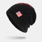 Men Wool America Flag WInter Keep Warm Beanie Skull Cap Woolen Knit Cap - Black2