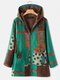 Vintage Printed Long Sleeve Hooded Patchwork Coat For Women - Green