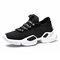 Men Knitted Fabric Comfy Slip Resistant Soft Sole Casual Running Chunky Sneakers - Black