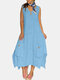 Loose Solid Color Button Sleeveless Splited Casual Dress For Women - Blue