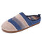 SOCOFY Colorblock Striped Household Cotton Slip On Indoor Flat Home Shoes Slippers - Blue