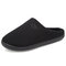 Men Comfy Knitted Fabric Non Slip Soft Warm Home Cotton Slippers - Black