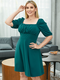 Solid Square Collar Half Sleeve Plus Size Casual Dress - Green