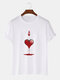 Mens Ace Of Hearts Poker Graphic Street 100% Cotton Short Sleeve T-Shirts - White