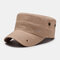 Men's Fashion Embroidered Cotton Flat Hat Outdoor All-Match Solid Color Military Cap - Khaki