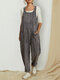 Striped Sleeveless Loose Corduroy Jumpsuit With Pocket - Grey