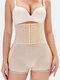 Plus Size High Waist Tummy Control Front Closure Shorts Lace Trim Hip Lifting Shapwear Panty - Nude
