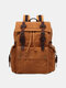 Men Retro Outdoor Waterproof Genuine Leather Canvas Patchwork Hiking Travel Backpack - Yellow