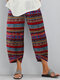 Vintage Print Elastic Waist Casual Pants For Women - Red