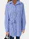 Bowknot Striped Print Long Sleeve Cotton Shirt For Women - Blue