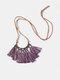 Bohemian Cotton Thread Tassel Long Necklace - #05