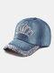 Women Denim Rhinestone Decorated Crown Pattern Broken Hole Casual Sunshade Baseball Caps - #03