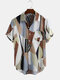Mens Multi Colorblock Chest Pocket Casual Short Sleeve Shirts - Brown