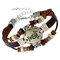Bracelet Vintage Couple Douze Constellations Bracelet en Cuir Véritable Bracelet Multicouche Perlé