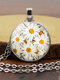 Alloy Glass Vintage Daisy Floral Pattern Printed Long Sweater Necklace - Silver
