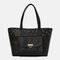 Women Sweet Multi-pocket Large Capacity Floral PU Leather Shoulder Bag Tote - Black