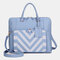 Women Design Striped Business Handbag Multifunction Crossbody Bag - Blue