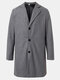 Mens Solid Color Single-Breasted Casual Loose Fit Mid-Length Overcoat - Dark Gray