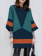 Casual Contrast Color Long Sleeve O-neck Dress For Women - Blue