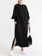 Casual O-neck Overhead Split Hem Long Sleeve Maxi Dress With Side Pockets - Black