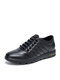 Men Comfy Microfiber Leather Lace-up Hand Stitching Casual Business Shoes - Black