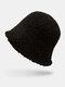 Women Lamb Wool Thick Plain Color Keep Warm Casual Fashion Sunvisor Bucket Hat - Black