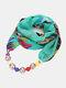 Vintage Chiffon Women Scarf Necklace Beaded Pendant Lattice Flowers Pattern Silk Scarf - #10