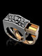 Vintage Combination Men Ring Punk Skull Ring Jewelry Gift - Gold