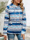 Colorful Striepd Print Long Sleeves Casual Hoodies For Women - Blue