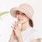 Removable Top Wide Brim Sun Hats Adjustable Breathable Driving Caps Outdoor UV Hats - Pink
