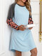 Leopard Print Patchwork O-neck Long Sleeve Casual Dress For Women - Blue