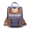 Women Canvas Casual Patchwork Large Capacity Backpack - Purple