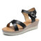 Women Cross Strap Comfy Breathable Buckle Strap Beach Casual Wedges Sandals - Black