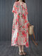 Flowers Print V-neck Pocket Plus Size Casual Dress for Women - Red