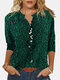 Leopard Print Stand Collar Long Sleeve Blouse For Women - Green