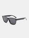 ユニセックスPCフルスクエアフレームHD偏光UV保護アウトドアファッションサングラス - 黒